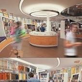 Интерьер книжного магазина и читального зала