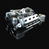 3d модель двигателя Краз с коробкой передач и сцеплением