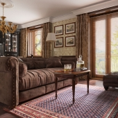 Living room interior visualisation in classic style