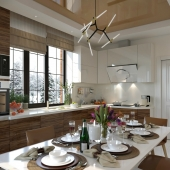 Кухня в загородном доме.