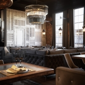 The new project of the restaurant in the style of luxury and loft