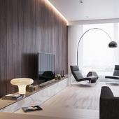 Просторная гостиная в современном стиле.