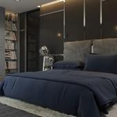Deep gray bedroom