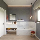Ванная комната с небольшим окошком
