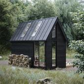 Скандинавский домик в лесу