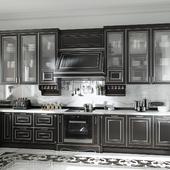 Черная кухня в коттедже