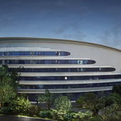 Визуализация концепта офисного здания и его окружения