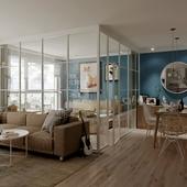 Светлая студия с панорамными окнами на 24 этаже
