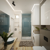Дизайн душевой комнаты современного стиля с эко направлением