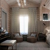 Хозяйская спальня в доме из бруса