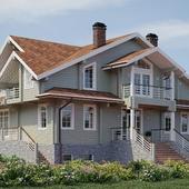 Деревянный дом из клееного бруса 185х210. 520 м2
