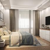 Спальня с лоджией в современном стиле