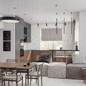 33 m кухня гостиная
