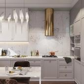 Элегантная кухня - столовая в загородном доме