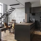 BLACK and  GRAY apartment( сделано по референсу )
