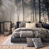 Bedroom in the misty forest.
