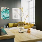 Dark kitchen/living room project