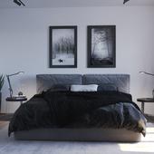 спальня в чёрно белых тонах