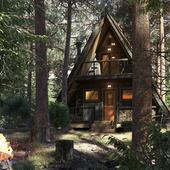 Домик в лесу по референсу
