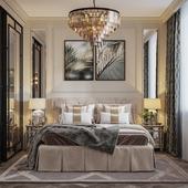 Визуализация спальной комнаты в стиле Неоклассика
