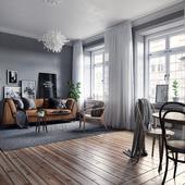 Scandinavian interior in Grey tones (сделано по референсу)