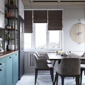 Дизайн и визуализация кухни-гостиной.