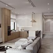 Private house interior loft design
