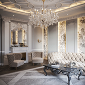 Neoclassical living room interior 01