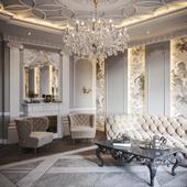 Neoclassical living room interior 01