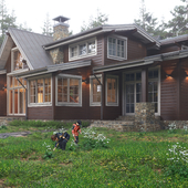 Визуализация загородного дома из бруса