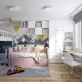 Детская комната для 3 детей 16м2
