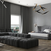 Master bedroom and living
