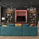 Интерьер гостиной в стиле Гранж в частном доме