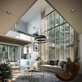 House in the forest interior (сделано по референсу)