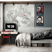 TEENAGER PLAYROOM WITH RED CHAIR