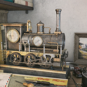 FRENCH INDUSTRIAL LOCOMOTIVE AUTOMATON CLOCK A.R. GUILMET