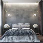 Спальня в серых тонах (сделано по референсу)