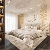 Визуализация спальной комнаты в современной классике