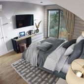 Colorful minimalistic bedroom interior design