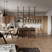 Визуализация кухня-гостиная в загородном доме