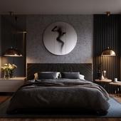 Роскошная спальня в темных тонах(сделано по референсу)