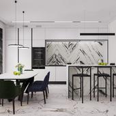 Кухня-гостиная и холл в частном доме