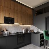 Визуализация кухни по дизайн проекту