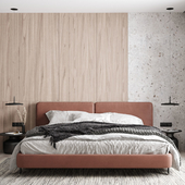 Спальня с рыжим изголовьем