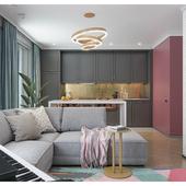 Дипломный дизайн-проект и визуализация 1комн. квартиры площадью 38м2