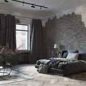 Интерьер спальни в стиле лофт (сделано по референсу)