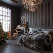 Bedroom in dark design