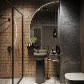 Renders of Dark Bathroom
