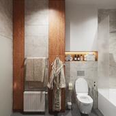 Pрендер ванной комнаты с душем и унитазом.