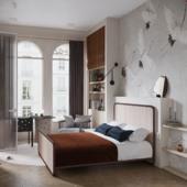 krylova apartment. bedroom with cranes